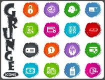 Icone di commercio elettronico messe nello stile di lerciume Fotografia Stock Libera da Diritti