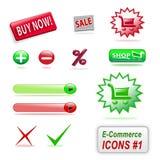 Icone di commercio elettronico, parte 1 Fotografia Stock