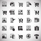 Icone di compera online messe su fondo bianco per il grafico ed il web design, segno semplice moderno di vettore Concetto del Int illustrazione vettoriale