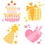 Icone di compleanno Immagini Stock