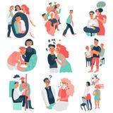 Icone di comportamento asociale messe illustrazione di stock