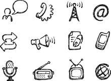 Icone di comunicazione di Grunge impostate Immagini Stock
