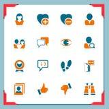 Icone di comunicazione e del Social | in serie del blocco per grafici Fotografia Stock Libera da Diritti
