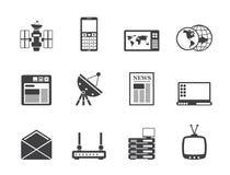 Icone di comunicazione e di affari della siluetta Fotografia Stock Libera da Diritti