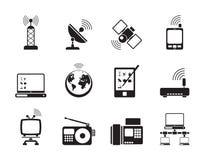 Icone di comunicazione e di tecnologia della siluetta Fotografie Stock Libere da Diritti