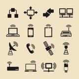 Icone di comunicazione impostate Illustrazione di vettore Concetto di progetto moderno di telecomunicazione Fotografia Stock