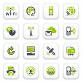 Icone di comunicazione. Serie grigia verde. Immagine Stock