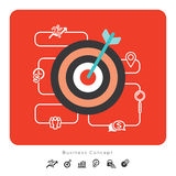 Icone di concetto di affari di successo con l'illustrazione dell'obiettivo Immagini Stock Libere da Diritti