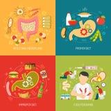 Icone di concetto di digestione messe illustrazione vettoriale