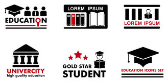 Icone di concetto di istruzione Immagine Stock Libera da Diritti
