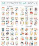 Icone di concetto di Infographics 3d di stampa, tecnologia futura, industria del gioco, sicurezza cyber Vettore premio di qualità Immagine Stock