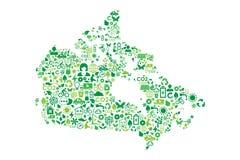 Icone di concetto di verde di protezione dell'ambiente della mappa del Canada fotografia stock