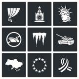 Icone di conflitto di U.S.A. Russia Illustrazione di vettore Immagine Stock Libera da Diritti