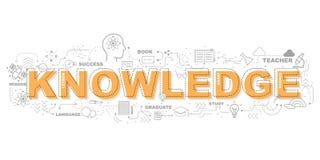 Icone di conoscenza per progettazione grafica dell'illustrazione di istruzione Immagine Stock