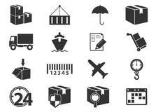 Icone di consegna e di trasporto Fotografia Stock