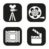 Icone di contaminazione messe Macchina da presa, video, bobina, simbolo di ciac di film Immagine Stock