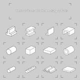 Icone di contorno dei prodotti metallici rotolati Fotografie Stock Libere da Diritti
