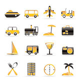 Icone di corsa, del trasporto, di turismo e di festa Immagini Stock Libere da Diritti