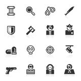 Icone di crimine & di legge - serie di minimo Fotografia Stock