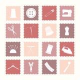 Icone di cucito Fotografia Stock