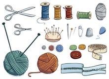 Icone di cucito illustrazione vettoriale