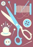 Icone di cucito degli strumenti Fotografia Stock