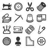 Icone di cucito messe su fondo bianco Vettore Fotografia Stock