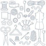Icone di cucito di scarabocchio messe Fotografia Stock