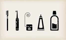 Icone di cura dei denti e della bocca Fotografia Stock Libera da Diritti