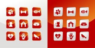 Icone di cura di animale domestico impostate Immagini Stock Libere da Diritti