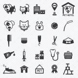 Icone di cura di animale domestico impostate Illustrazione Fotografie Stock Libere da Diritti