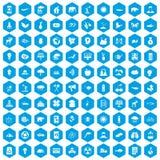 100 icone di cura di eco messe blu illustrazione vettoriale