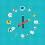 Icone di curriculum e di istruzione Forma dell'orologio Fotografie Stock Libere da Diritti