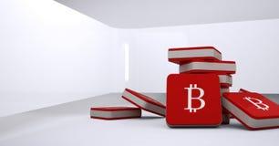 icone di 3D Bitcoin sul pavimento nella sala Immagine Stock