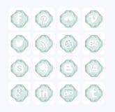 Icone di Diamond Social Stile piano di progettazione Immagini Stock Libere da Diritti