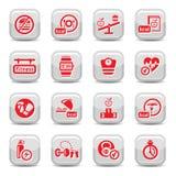 Icone di dieta e di forma fisica Immagine Stock