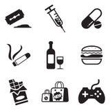 Icone di dipendenza Fotografia Stock