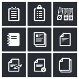 Icone di documenti cartacei del blocco note messe Fotografie Stock Libere da Diritti