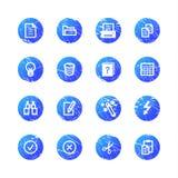Icone di documento blu del grunge Fotografie Stock Libere da Diritti