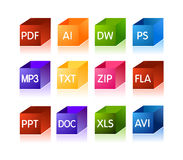 Icone di documento dell'archivio e del software Fotografia Stock Libera da Diritti