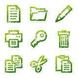 Icone di documento verdi del grunge Immagine Stock Libera da Diritti