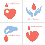 Icone di donazione di sangue Fotografia Stock Libera da Diritti