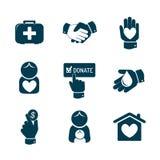 Icone di donazione e di carità messe Fotografia Stock
