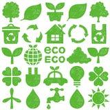 Icone di Eco Insieme del bollo Immagini Stock
