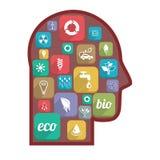 Icone di Eco nella testa Fotografia Stock