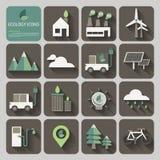 Icone di ecologia con ombra lunga sul concetto di progetto piano illustrazione di stock