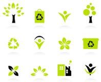 Icone di ecologia, della natura e dell'ambiente impostate Fotografie Stock Libere da Diritti