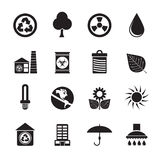 Icone di ecologia e della natura della siluetta Fotografie Stock Libere da Diritti