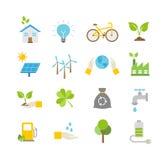Icone di ecologia, protezione di natura Fotografie Stock Libere da Diritti