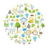 Icone di ecologia, protezione di natura, fondo di vettore Immagini Stock Libere da Diritti